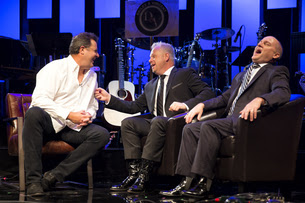 Vince Gill chats with Dailey & Vincent on set Photo Credit: Dusty Draper
