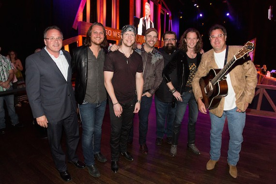 Pictured (L to R): Pete Fisher, Vice President and General Manager, Grand Ole Opry; Home Free's Tim Foust, Adam Rupp, Chris Rupp, Rob Lundquist and Austin Brown; Opry member Vince Gill. Photo:  Chris Hollo