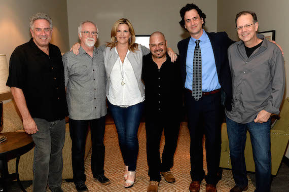Pictured (L-R): Vector Management's Ken Levitan, producer Garth Fundis, Trisha Yearwood, musician Johnny Garcia, the Country Music Hall of Fame and Museum's Peter Cooper, and musician Steve Cox. Photo: Jason Davis/Getty Images
