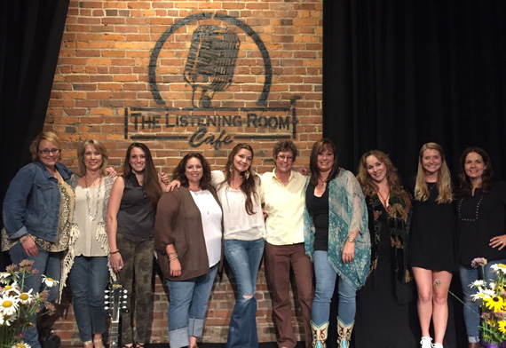 (L-R): Emilie Glover (Red Light Management), Deborah Ferris (Regional Director, Music & Memory), Amelia Varni (UMPG Nashville), Cyndi Forman (UMPG Nashville), Matraca Berg, Tammy Helm (UMPG Nashville), Suzy Bogguss, Gretchen Peters, Christina Wiltshire (Patrick Joseph Music), Lori McKenna