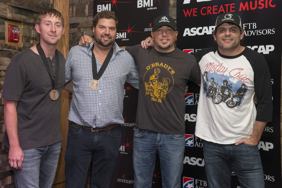 (L-R) Songwriter Ashley Gorley and Dallas Davidson, Aldean, and Songwriter Rhett Akins. Photo: John Russell