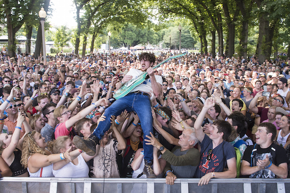 Kevin McKeown of Black Pistol Fire plays the BMI stage at Lollapalooza