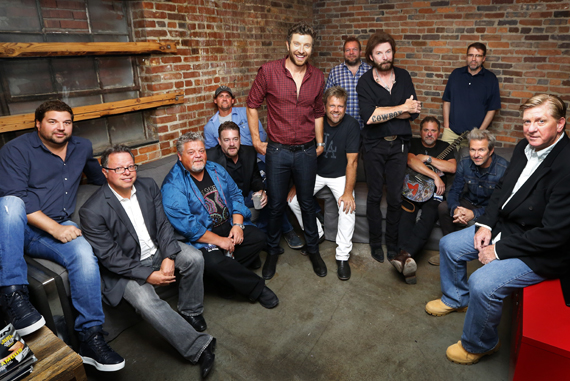 Pictured (L-R): Dallas Davidson; Don Maggi, Front and Center Executive Producer; Craig Wiseman; Rob Beckham, co-head of WME Nashville and CMA Board member; Neil Thrasher; Brett Eldredge; Wendell Mobley; Scott Scovill, CEO and Director of Moo Creative and CMA Board member; Ronnie Dunn; Bob DiPiero, songwriter and CMA Board member; Tony Martin; Tommy Lee James; and Denis Gallagher, Front and Center Executive Producer. Photo: Donn Jones