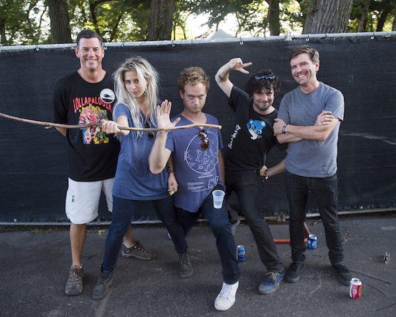 BMI's Mark Mason with Bully's Alicia Bognanno, Stewart Copeland, Reece Lazarus and Clayton Parker