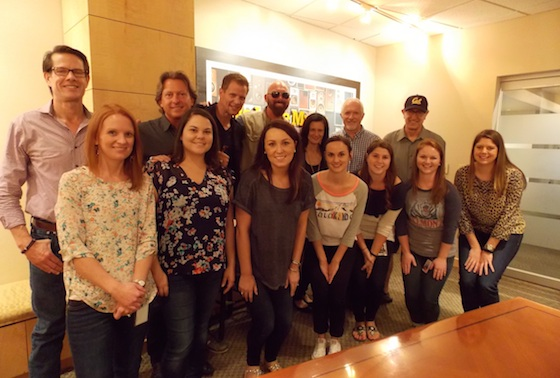 Pictured (L-R): Cass Scripps - APA Booking, Brinson Strickland - The Collective Stacey Cato (Manager, Music Strategy) - CMT, Corey Smith Leslie Fram ( SVP, Music Strategy) - CMT, Cliff O'Sullivan - Rounder Label Group, David Newmark – Rounder Label Group. Front Row (L-R)  - Donna Duncan (Manager, Talent Relations) - CMT, Rachel Cunningham - The Collective, Jordan Stephens (Coordinator, Music Strategy) - CMT, Jen Morrison (Sr. Manager, Social Media) - CMT, Claire Heinichen (Coordinator, Social Media) - CMT, Katie Roth (Social Media) - CMT, Jennifer Dichiara (Consumer Marketing) - CMT