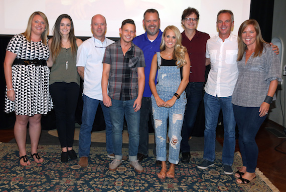 Pictured (L-R): Christy Garbinski, Promotion Representative, Sony Music Nashville; Olivia Laster, Specialist, Promotion, Arista Nashville; R.G. Jones, Director, Promotion/Strategy & Analysis;  Rusty Sherrill, Regional Promotion Manager, Arista Nashville; Andy Elliott, Director, National Promotion, Arista Nashville;  Carrie Underwood;  John Sigler, Director, National Promotion, Arista Nashville; Steve Hodges, EVP, Promotion & Artist Development, Sony Music Nashville; Lesly Tyson, VP, Promotion, Arista Nashville.