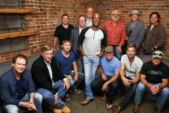 Pictured (L-R): Seated: Clay Mills; Denis Gallagher, Front and Center Executive Producer; Ashley Gorley; Casey Beathard; Charles Kelley; Tim James. Standing: Frank Rogers; Don Maggi, Front and Center Executive Producer; Mike Dungan, Chairman/CEO UMG Nashville and CMA Board member; Darius Rucker; Rivers Rutherford; Nathan Chapman; Chris DuBois. Photo: Donn Jones