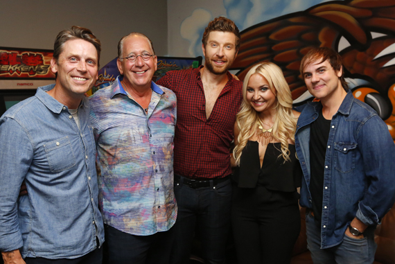 Pictured (L-R): Travis Hill; John Esposito, President/CEO Warner Music Nashville and CMA Board President; Brett Eldredge; Heather Morgan; Ross Copperman. Photo: Donn Jones