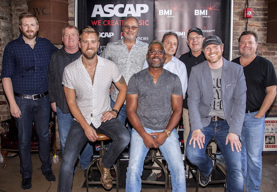 Pictured (L-R, front row): Homegrown Honey co-writers Charles Kelley, Darius Rucker and Nathan Chapman; (back row): Warner Chappell's BJ Hill, ASCAP's Mike Sistad, UMG's Mike Dungan, BMI's Jody Williams, UMPG's Ron Stuve and producer Frank Rogers. Photo: Ed Rode