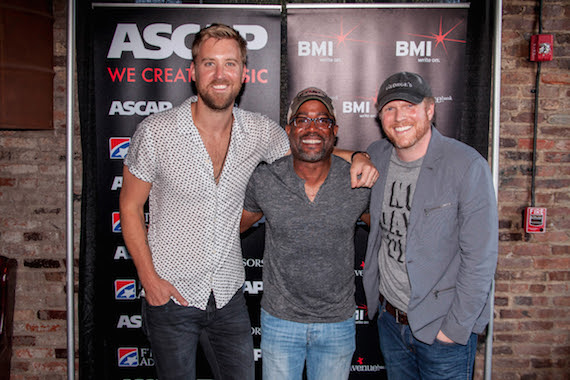 """(Pictured, L-R): Charles Kelley, Darius Rucker and Nathan Chapman celebrate Rucker's No. 1 hit, """"Homegrown Honey."""" Photo: Ed Rode"""