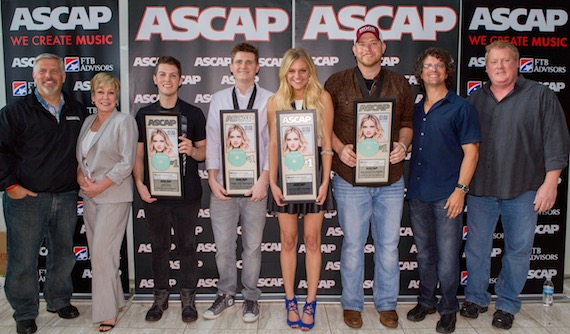 Pictured (l-r): Black River Entertainment's Gordon Kerr and Celia Froelig, Kerr, Whitehead, Ballerini, Carpenter, Parallel Music Publishing's Tim Hunze and ASCAP's Mike Sistad. Photo by Ed Rode.
