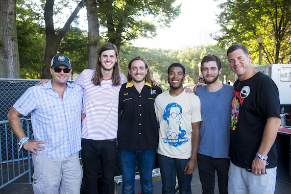 High Brew Coffee's David Smith (L) and BMI's Mark Mason (R) pose with Nashville-based BMI band the Lonely Biscuits
