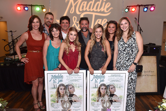 Pictured (L-R): Back: Dot Records Michelle Kammerer, Kris Lamb, BMLG's Scott Borchetta, Dot Records Chris Stacey, Bernadette Gibbons; Front: Dot Records Mallory Allgood, Maddie Marlow, Tae Dye, Dot Records Brooke Nixon. Photo: Getty Images for Dot Records