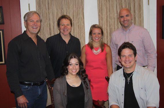 (L-R, standing):  Clay Myers, MV2's Creative director, Tony Harrell, Lauren Spahn (Oakley's attorney), Robert Filhart (ASCAP writer rep). (L-R, sitting):  Cherie Oakley, Mark Oakley