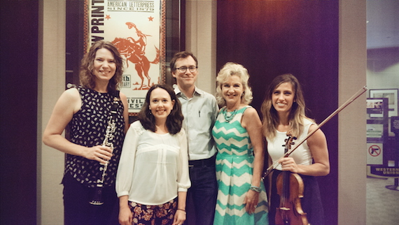L to R: Emily Bowland (performing musician), Kelly Corcoran (Artistic Director of Intersection), Craig Havighurst (Intersection Board member), Lisa Harless (Regions Bank Senior Vice President), and Alicia Enstrom (performing musician).