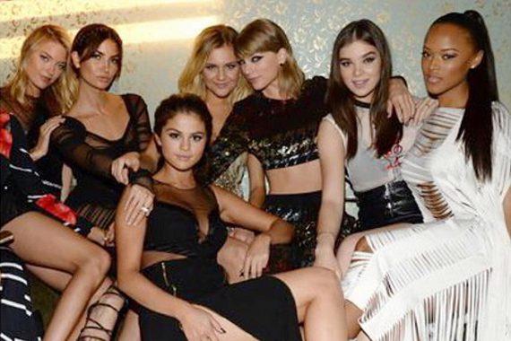 Pictured (L-R): Martha Hunt, Lily Aldridge, Selena Gomez, Kelsea Ballerini, Taylor Swift, Hailee Steinfeld and Serayah McNeill. Photo: Kelsea Ballerini