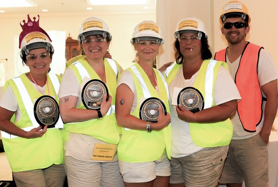 Team Vaden Group, 1st place costume contest winners (l-r): Vaden Group's Vicki Cherry, Jennifer Lane and Trisha Adams, Avenue Bank's Ellen May and Vaden Group's Caleb Dugger - Photo: Bev Moser
