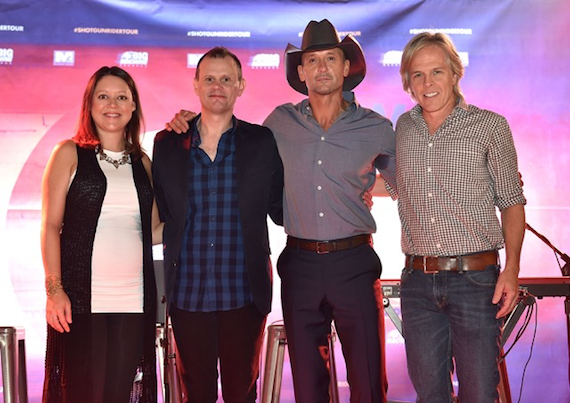 Pictured (L-R): Hillary Lindsey, Troy Verges, Tim McGraw and Marv Green.