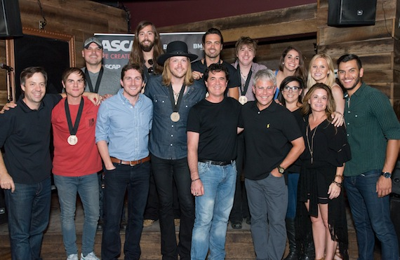 Pictured: (L-R): (back row): Warner Chappell's Travis Carter, Sony/ATV's Josh VanValkenburg, BMI's Perry Howard, ATH's Zach Brown, Michael Hobby, Bill Satcher and Graham Deloach. (Front row): Producer Dave Cobb, BMI's Ross Copperman, ASCAP's Jon Nite, BMLG's Scott Borchetta and Jimmy Harnen and ASCAP's Mike Sistad Photo: Steve Lowry
