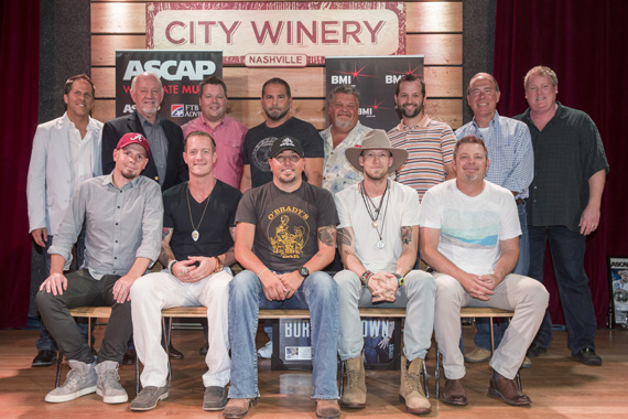 "Celebrating Jason Aldean's No. 1 hit ""Burnin' It Down."" (L-R): (back row): BBR Music Group's Jon Loba and Benny Brown, BMI's Bradley Collins, producer Michael Knox, Big Loud Shirt's Craig Wiseman and Matt Turner, Round Hill's Mark Brown and ASCAP's Mike Sistad. (Front row): songwriter Chris Tompkins, BMI songwriter Tyler Hubbard, BMI affiliate Jason Aldean, BMI songwriters Brian Kelley and Rodney Clawson."