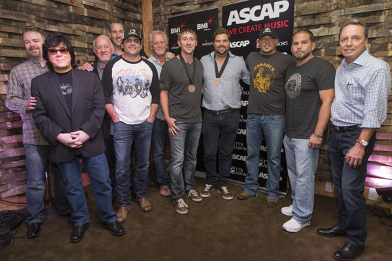 "Celebrating Jason Aldean's No. 1 hit ""Tonight Looks Good On You."" (L-R): Warner Chappell's Ben Vaugh, ASCAP's John Titta, BBR Music Group's Benny Brown, SONY/ATV's Tom Luteran, BMI songwriter Rhett Akins, Combustion Music's Chris Farren, songwriter Ashley Gorley, BMI songwriter Dallas Davidson, BMI affiliate Jason Aldean producer Michael Knox and BMI's Jody Williams."