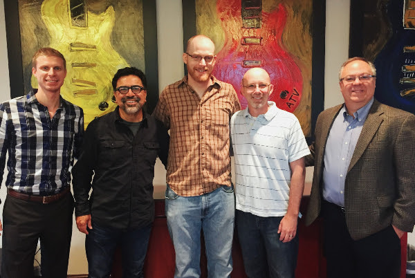 Pictured (L-R) Nathan J. Drake, Dickinson Wright PLLC; Alex Torrez, Torrez Music Group; Andy Wills; Terry Wakefield, Sony ATV Music Publishing; Derek Crownover, Dickinson Wright PLLC