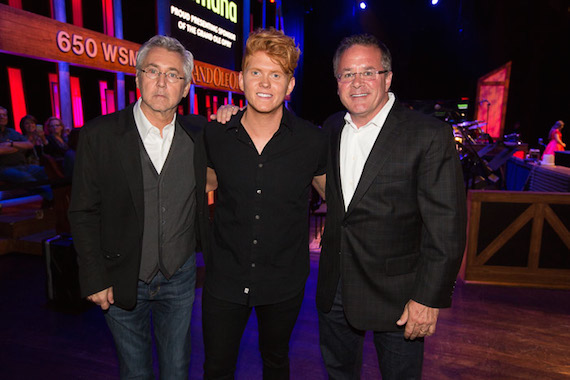 Pictured (L-R): Maverick's Clarence Spalding, Seth Alley and Grand Ole Opry's Pete Fisher. Photo: Chris Hollo