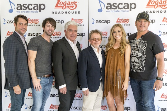 (l-r): ASCAP VP of Nashville Membership Michael Martin, Chris Cavanaugh, Logan's Roadhouse CEO Sam Borgese, ASCAP President and Chairman of the Board Paul Williams, Sarahbeth Taite and Jerrod Niemann