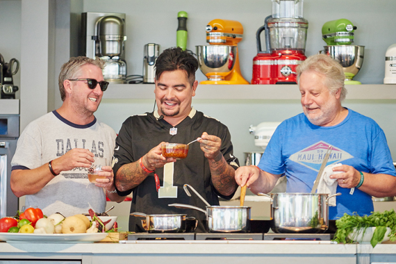 Chefs Tim Love (R), Aaron Sanchez (C) and Jonathan Waxman (L).