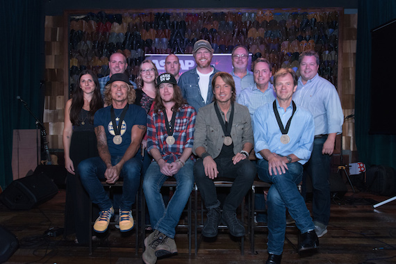 Pictured (L-R): (Back Row) 3 Ring Circus' Casey LeVasseur and Darrell Franklin, Sony/ATV's Abbey Adams, ASCAP's Robert Filhart, producer Nathan Chapman, Universal's Mike Dungan, BMI's Jody Williams and Bradley Collins. (Front Row) BMI songwriter Jeffrey Steele, ASCAP songwriter Jaren Johnston, BMI affiliate Keith Urban, BMI songwriter Tom Douglas.