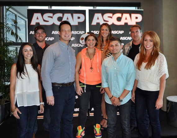 Pictured (l-r, front row): Whizbang's Jennifer Wolczyk and Jim Scherer, Daphne Willis, and Sony ATV's Mark Abramowitz and Hannah Williams; (back row) Sony ATV's Ed Williams, ASCAP's Evyn Mustoe and Leavens, Strand & Glover, LLC's Hillel Frankel.