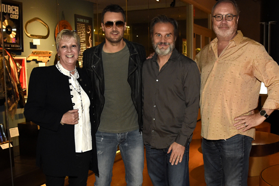 VIP preview of Eric Church's exhibit at the Country Music Hall of Fame. Pictured (L-R): Pictured are (l-r): Country Music Hall of Fame and Museum's Carolyn Tate, Eric Church, John Peets, and Universal Music Group's Mike Dungan. Photo: Rick Diamond, Getty Images for the Country Music Hall of Fame and Museum