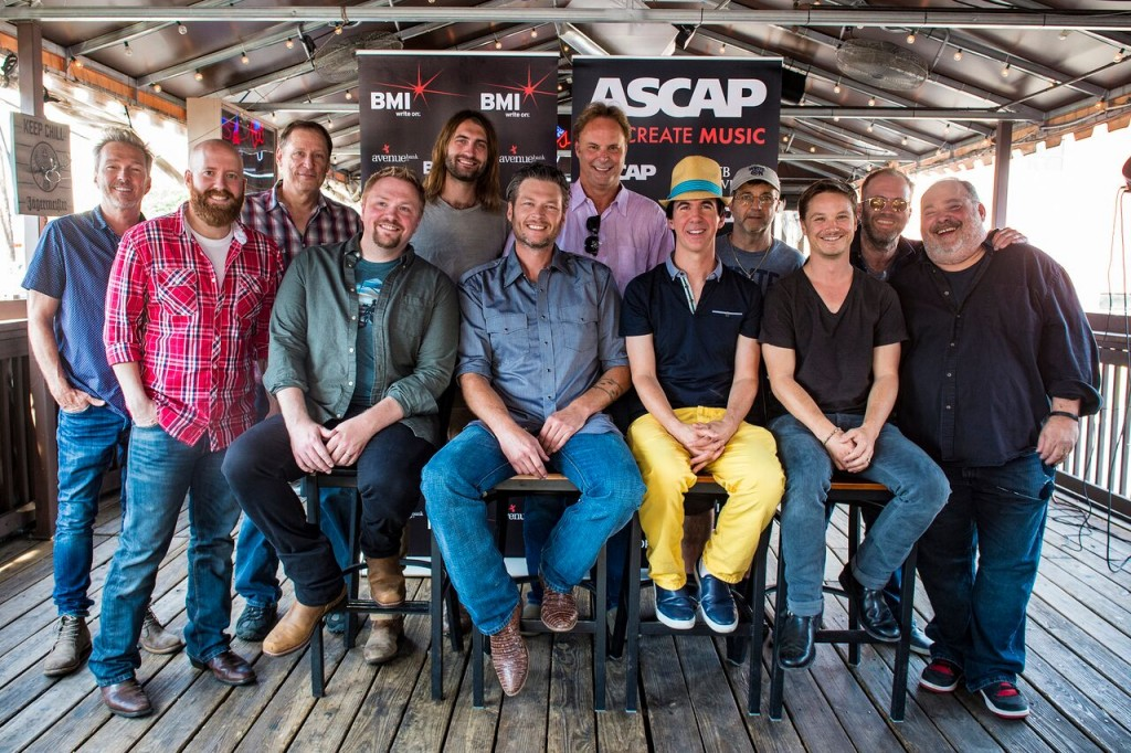 3528: Pictured: (L-R) BMI songwriter Tommy Lee James, ASCAP songwriter Brent Anderson, BMI songwriter Wade Kirby, ASCAP songwriter Ryan Hurd, producer Scott Hendrix, BMI songwriters Phil O'Donnell and Andrew Dorff and ASCAP songwriter Mark Irwin. (Front Row) ASCAP songwriter Josh Osborne, BMI affiliate Blake Shelton, ASCAP songwriters JT Harding and Josh Kear.