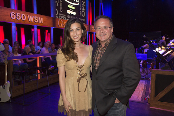 Pictured (L-R): Rainey Qualley and the Grand Ole Opry's Pete Fisher. Photo: Chris Hollo.