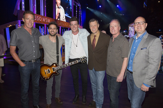 Pictured (L-R): TKO Artist Management's TK Kimbrell, Waterloo Revival's Cody Cooper and George Birge, Grand Ole Opry's Bill Cody, TKO Artist Management's Mark Sissel and Big Machine Records' Jack Purcell. Photo: Chris Hollo