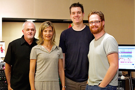 Pictured (L-R): Dan Hodges(Owner, DHM), Susan Hodges (VP Administration, DHM Administration), Jamie Tate (Owner, Rukkus Room) and Adam Wood (Songwriter, Rukkus Room)