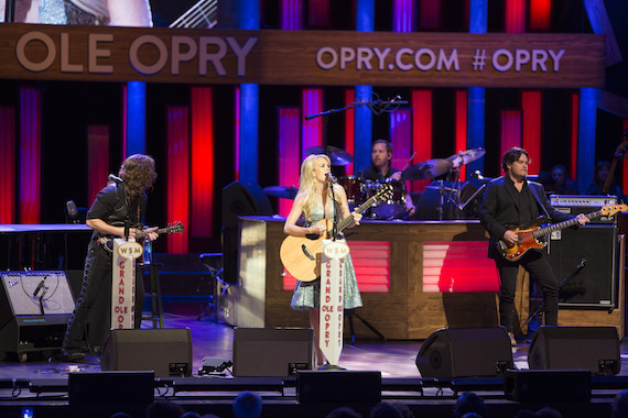 """Carrie Underwood performs """"Smoke Break"""" at the Grand Ole Opry. Photo: Chris Hollo."""