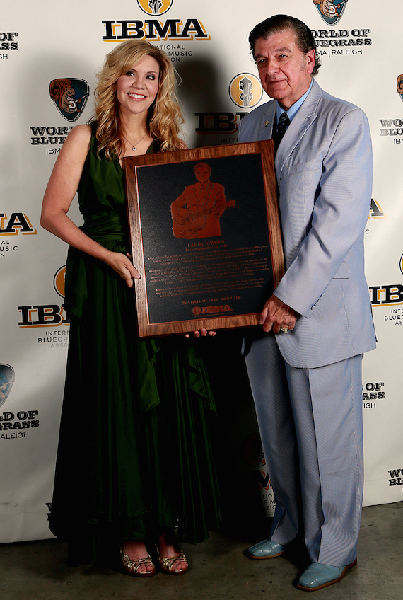 Alison Krauss and Larry Sparks at the 2015 IBMA Awards. Photo: Dave Brainard