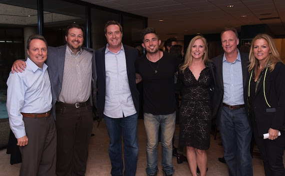 Pictured: (L-R) BMI's Jody Williams and Mason Hunter, AT&T's Bart Peters, BMI songwriter Michael Ray, AT&T's Jennifer Miles and Tom Sauer and BMI's Leslie Roberts.