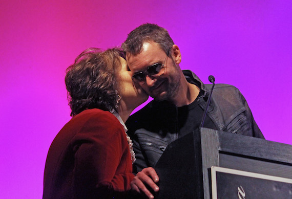 Eric and his mother Rita Church on stage at the North Carolina Hall of Fame ceremony on Oct. 15, 2015 at Gem Theater. Photo: Daniel Coston