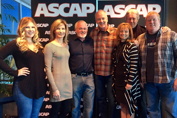 Pictured (L-R): Michelle Attardi (Creative Director, DHM), Susan Hodges (VP of Administration, DHM), Dan Hodges (Owner/GM, DHM), Byron Hill​, and ASCAP's Kele Currier, Ralph Murphy, Mike Sistad.​