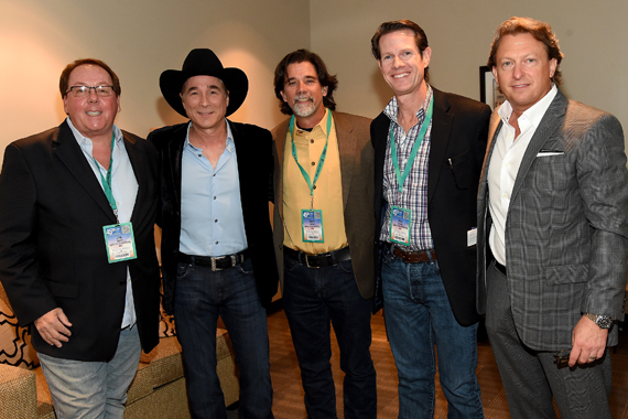 Pictured (L-R): Agency for the Performing Arts' Jim Gosnell, Clint Black, Agency for the Performing Arts' Steve Lassiter and Cass Scripps, and Brinson Strickland of The Collective LA pose backstage at the Honors and Awards Ceremony during the IEBA 2015 Conference. Photo: Rick Diamond/Getty Images for IEBA