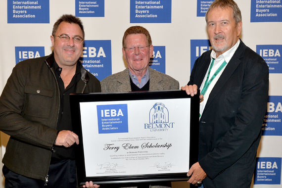 Pictured (L-R): Vince Gill, Terry Elam, and IBEA President Kell Houston pose backstage, celebrating the establishment of the Terry Elam Scholarship at the Honors and Awards Ceremony. Photo: Jason Davis/Getty Images for IEBA