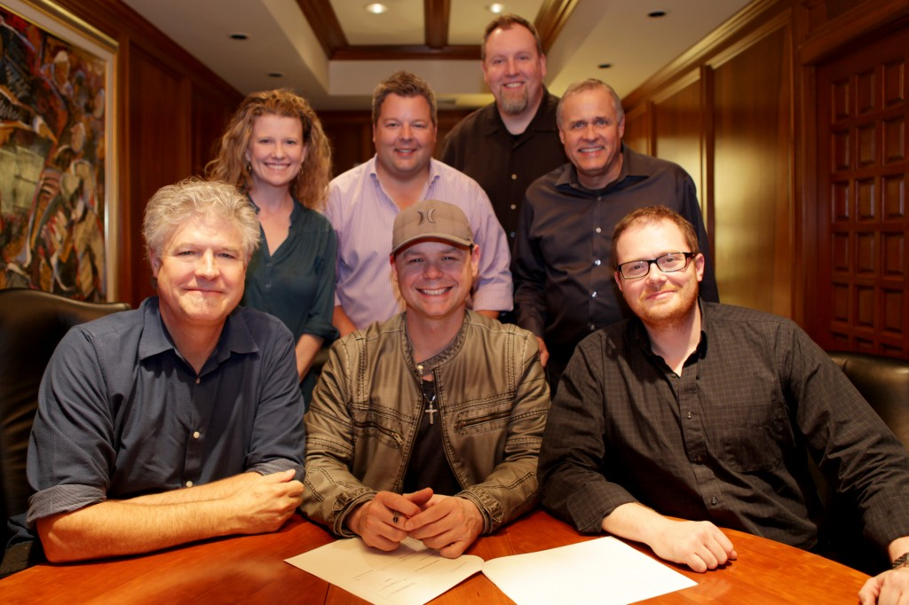 Pictured (front row, L-R): Daniel Hill (President, Spirit Music Nashville), Jay Brunswick, Noah McPike (Almon & McPike). Back Row (L-R): Carrie Gallo (Creative Dir., Spirit), Bradley Collins (BMI),Brian Bradford (Dir. Admin., Spirit), Billy Lynn (VP Creative, Spirit).