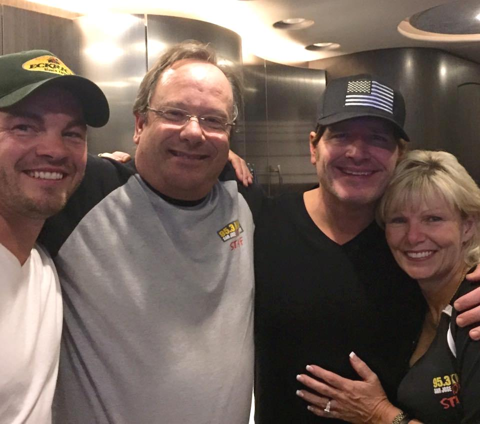 Pictured (L-R): Opening act Chris Giles, KRTY General Manager Nate Deaton, Niemann, and KRTY General Sales Manager Tina Ferguson.