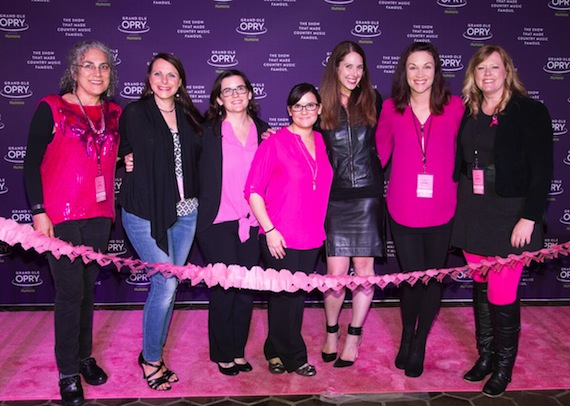 Members of the Women Rock For The Cure board members walk the pink carpet prior to the 7th Annual Opry Goes Pink show. Pictured (L-R): WRFTC Board Member Adie MacKenzie, WRFTC Board Member & Survivor Jessi Pruitt, WRFTC Co-Founder Rebekah Lee Beard, WRFTC Co-Founder Liz Lee Schullo, WRFTC Co-Founder & President Jensen Sussman, WRFTC Board Member Michelle Tigard Kammerer and WRFTC Board Member Jenny Ciali