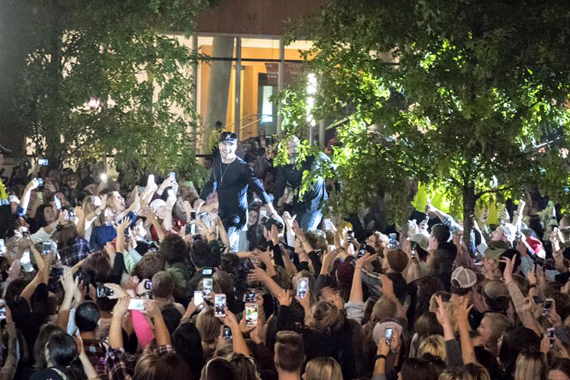 Sam Hunt runs through the crowd at his October 28th street party.