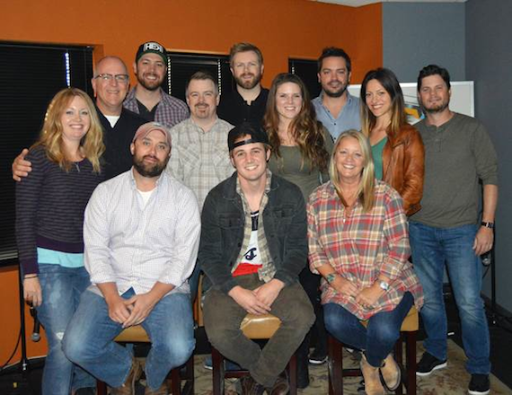 Back Row: Alicia Pruitt (WC), Phil May (WC), Corey Crowder (Producer), Ben Vaughn (WC), BJ Hill (WC), Alyson McAnally (LRM), Travis Carter (WC), Natalie Paslay (LRM), Matt Michiels (WC). Front Row: Scott Ponce (LRM), Ennis, Liz Rose (LRM)