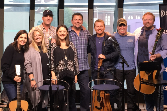 Pictured (L-R): Lori McKenna, Liz Rose, Brice Long, Hillary Lindsey, Storme Warren, Shane McAnally, Casey Beathard, Josh Osborne. Photo: SiriusXM