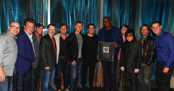 From L-R: Derek George (W/C Songwriter), Clark Miller (EVP, Operations, North America, Warner/Chappell Music), Michael Martin (VP, ASCAP), Ben Vaughn (EVP, Warner/Chappell Nashville), Brandon Lay (W/C Songwriter), Ashley Gorley (W/C Songwriter), Cale Dodds (W/C Songwriter), Jon Platt (CEO, Warner/Chappell Music), Seth Ennis (W/C Songwriter), John Titta (EVP, Creative Services, ASCAP) Brett James (W/C Songwriter), Marc Emert-Hutner (VP, ASCAP)